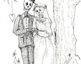 Skeleton Wedding, Skeleton Bride and Groom, digital art, download for invitations, October wedding, Halloween wedding, goth wedding