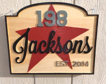 Wooden Sign - Engraved Wood Sign - Country Star with Last Name and Address sign. Custom sign.