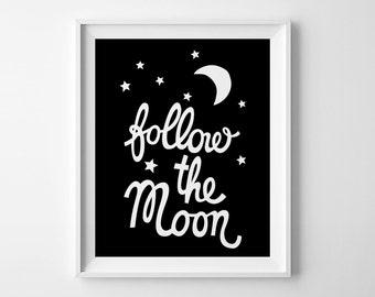 Wall art, kids room decor, affiche, printable decor, nursery art, Scandinavian print, Follow the Moon, printable wall art, mini learners