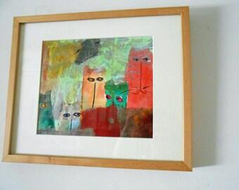 Original Cat Art Peeping Toms