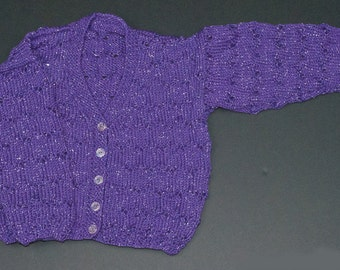 Girls Lacy Cardigan - Purple Sparkle