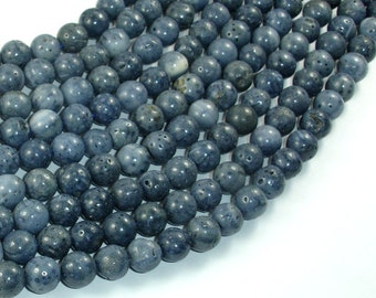 Blue Sponge Coral Beads, 8mm Round Beads, 15.5 Inch, Full strand, Approx 48 beads, Hole 1mm (163054011)