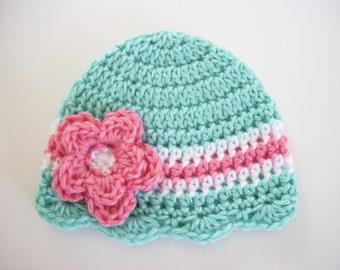 Newborn Crochet Hat, Baby Girl Beanie, Toddler Hat, Coming Home Hat, Newborn Photo Prop, Crochet Baby Hat, Baby Girl, Hat for Baby Girl