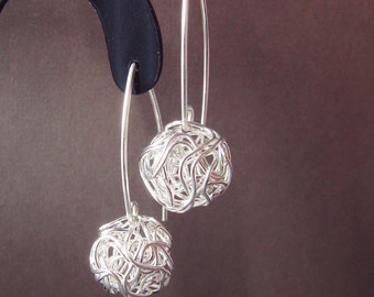 Silver Earrings Wire Ball Dangle Drop  - MIA4 Sterling Silver Earrings European design - wire tangled ball drop