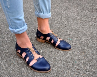 Nassau - Womens Cutout Oxfords, Oxford Sandals, Leather Sandals, Oxfords for women, Spring Shoes, Custom, FREE customization!!!
