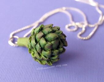 Artichoke Necklace, Garden Jewelry, Food Jewelry, Miniature Food Necklace, Vegetable Jewelry
