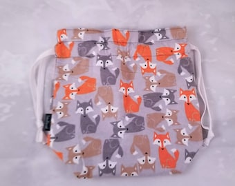 Fox project bag, Knitting Project Bag, Drawstring project Bag, Gift Bag, Crochet, Yarn Storage bag, knitting, Cosmetic bag, Gift for her