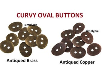 Curvy Oval Buttons 14mm 8 pcs Ur Pick Antiqued Brass Antiqued Copper