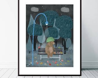 feeding the birds.colorful dreamy nature illustrations.colorful cute home or nursery wall Art.giclee art print color your world with nature.