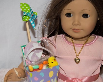 """Easter Basket for 18"""" American Girl Doll Includes Chocolate Bunny, Game, Chick, PInwheel and Stickers"""