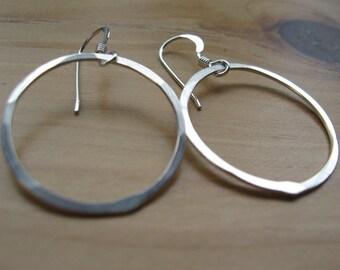 Recycled Sterling silver loop hoop earrings  smooth sailing
