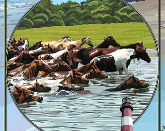Chincoteague, Virgina - Scenes (Art Prints available in multiple sizes)