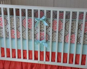 Ruffled Baby Girl Crib Bedding Set Coral Aqua Mint