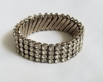 Vintage Signed British Hong Kong Rhinestone Expansion Bracelet