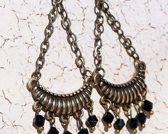 Beautiful,. Antique Brass, Black Swarovski Crystal Earrings, Dangles, Chandelier Earrings, Drop Earrings, Perfect for You