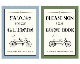 Wedding Table Signs.  Favors & Guest book  5x7 each - instant download