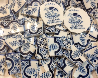 Broken China mosaic tiles~~Handcut tiles~~Touch of the Orient~~ChEERy BLues