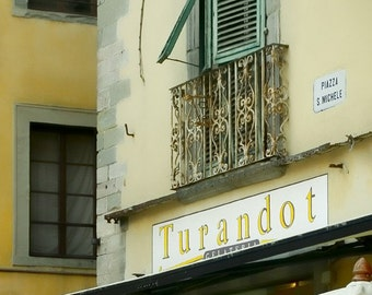Gelateria for Narciso - Tuscany, Italy - Fine art travel photography - signage for opera lovers - windowscape - lemon, ivory, green
