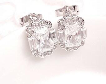Emerald cut bridal studs earrings Wedding earrings CZ jewelry rhinestones earrings Bridesmaids earrings studs Bridal cubic zirconia earrings