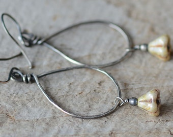Sterling Silver Teardrop Hoop Earrings Wire Wrapped Oxidized Glass Flower Earrings Handmade Hammered Artisan Jewelry Under 30