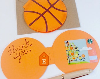Basketball Greeting Card, Basketball Team Gift, Coach Gift For Men, Sports Gift Card Holder, Ball Card, Happy Birthday Card, Thank You Coach