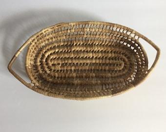 Vintage Bohemian Basket with Handles