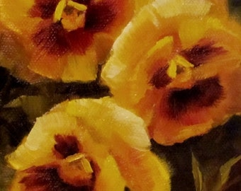 """Yellow Pansies Impressionist OIL Painting CES - Original Painting Still Life Floral Pansy Art Yellow Flowers Mini Oil Painting Garden ART 4"""""""