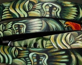 Tattoo leather CAT collar small dog collar 10 in-12 in TIKI Hand Painted