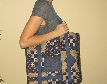 Laptop Book Tote Japanese Kasuri Patchwork Look Design Quilted Fabric