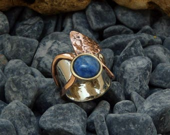 silver and copper ring. Ring with Denim lapis.