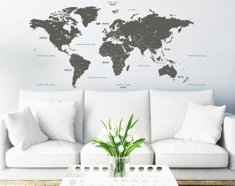 Decowall, DLT-1609G,The World Large Wall Stickers