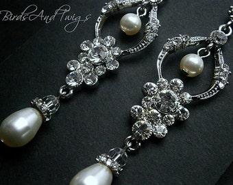 Boucles d'oreilles Chandelier mariée mariage classique perle et strass boucles d'oreilles mariées vente