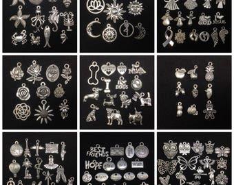 BARGAIN 100pcs Bulk Mix Lot Tibetan Silver Charms / Pendants - Group A