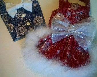Christmas dog dress snowflakes and crystal New Years Winter snow dress. Red or Blue