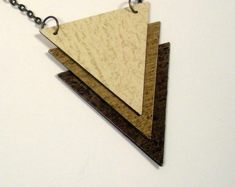 Geometric Triangular Necklace, Upcycled Wallpaper Pendant, Wood Grain Tricolor Pendant, Reversible Pendant, Recycled Paper