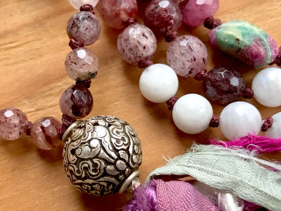 Tibetan Silver Conch Shell Mala Beads / Buddhist Mala Beads /  8 Auspicious Path / Moonstone Mala Beads / Cherry Quartz /  Ruby