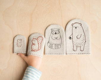 Woodland Animal Embroidered Finger Puppet - Embroidery Pattern and Sewing Project