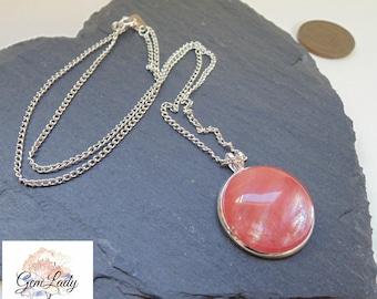 Cherry Quartz Round Cabachon Necklace ~ Gemstone Crystal Healing ~ Handmade Ooak