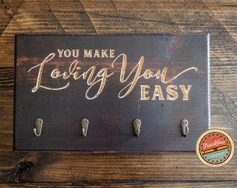 KEY HOLDER - Key Rack   Home Living   Home Decor   Housewarming Gift   Loving You Sign   Wedding Gift   Newlywed   Wood   Anniversary