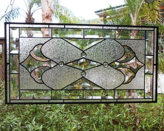 Stained Glass Panel, Beveled Glass Traditional Window Transom, Vintage Look Stained Glass Window Valance, Original Glass Window Treatment