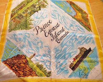 "Vintage Souvenir Scarf Prince Edward Island 26"" X 27""  #160"
