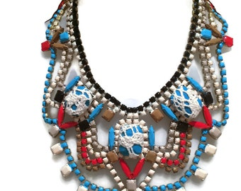 S0 DKNY brown,scuba bluel, red and tan painted rhinestone bib necklace