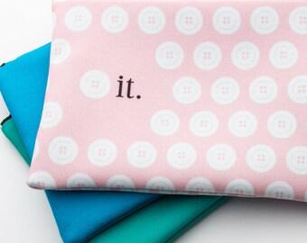 Zipper Bag, Fiber Art Geek, Button It Pale Pink