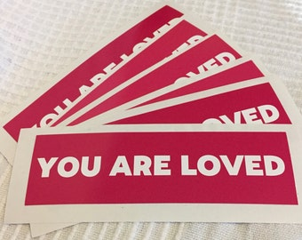 6 Pack: Fuschia Hot Pink You Are Loved Stickers