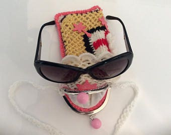 Cases for glasses, cell phone made acrylic hand crocheted