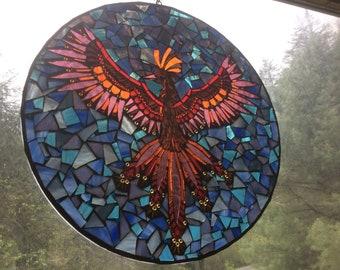 "Stained Glass Mosaic Suncatcher ""Phoenix"""