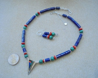 Inlay Pendant Necklace and Earrings set - Handmade - Lapis, Malachite, Glass, Sterling Silver