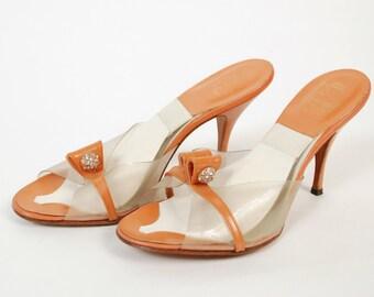 Vintage 1950s Shoes - Bombshell Orange Plexi Springolators with Rhinestones Size 7 M