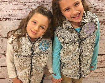 Monogrammed YOUTH Sherpa Vest - Boxercraft, full zip Sherpa vest, girls, gift, daughter