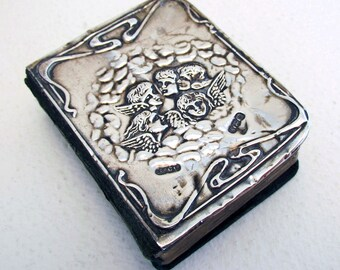 Antique (1914) Miniature ART NOUVEAU Book of Common PRAYER Bible, Sterling Silver Cover, Joshua Reynold Heads of Angels.